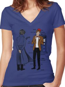 Sherlock meets the Doctor Women's Fitted V-Neck T-Shirt