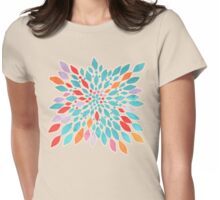 Radiant Dahlia - teal, orange, coral, pink watercolor pattern Womens Fitted T-Shirt