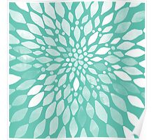 Radiant Dahlia in Teal and White Poster