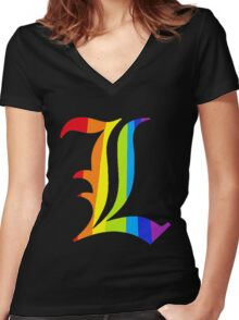 Rainbow L Women's Fitted V-Neck T-Shirt