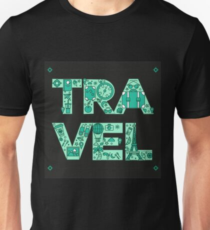 Time to Travel. Retro Lettering with Outline Style Travelling Elements Unisex T-Shirt