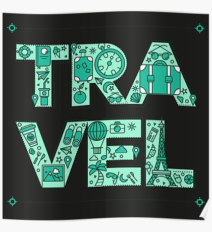 Time to Travel. Retro Lettering with Outline Style Travelling Elements Poster