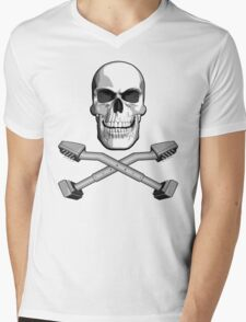 Carpet Installer Skull Mens V-Neck T-Shirt
