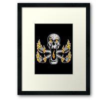 Flaming Carpet Installer Skull Framed Print