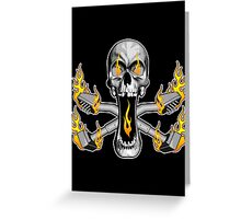 Flaming Carpet Installer Skull Greeting Card