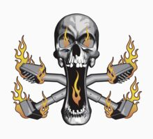 Flaming Carpet Installer Skull by dxf1969