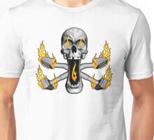 Flaming Carpet Installer Skull Unisex T-Shirt