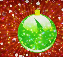Green Christmas ball on sparkle background by AnnArtshock