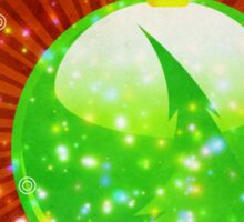 Green Christmas ball on sparkle background Sticker