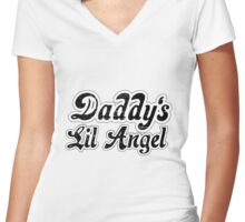 Daddys Lil Angel - Distressed Women's Fitted V-Neck T-Shirt