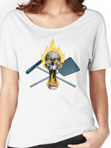 Flaming Pool Boy Skull Women's Relaxed Fit T-Shirt