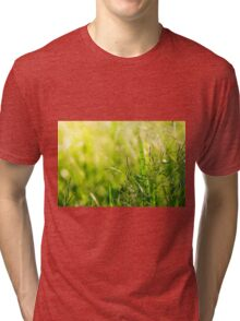 Green grass meadow with a touch of yellow sunbeams Tri-blend T-Shirt