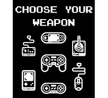 Retro Gaming T-shirt: Choose Your Weapon Classic Controllers Photographic Print