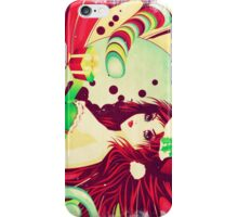 Grunge candy background with Santa girl iPhone Case/Skin
