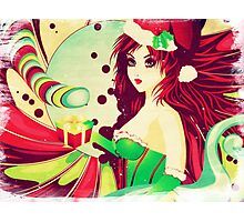 Grunge candy background with Santa girl Photographic Print
