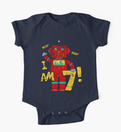 Retro Robot 7th Birthday Party One Piece - Short Sleeve