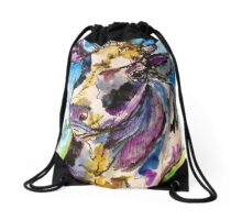 How Now Purple Cow Drawstring Bag