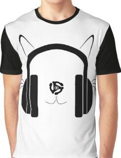 Cat Headphones Logo by Basement Mastermind Graphic T-Shirt