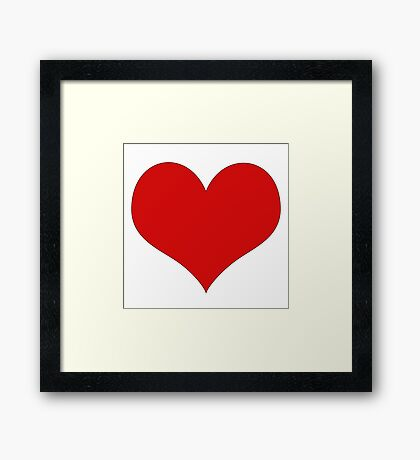 Abstract Cute Red Heart Shape Pattern Black  Framed Print