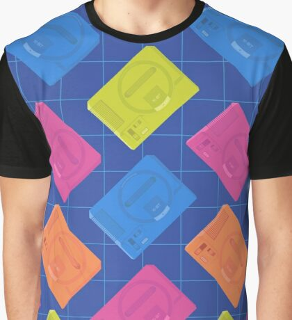 Megadrive neon (Blue) Graphic T-Shirt