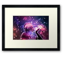 Holiday background with girl blowing snow Framed Print