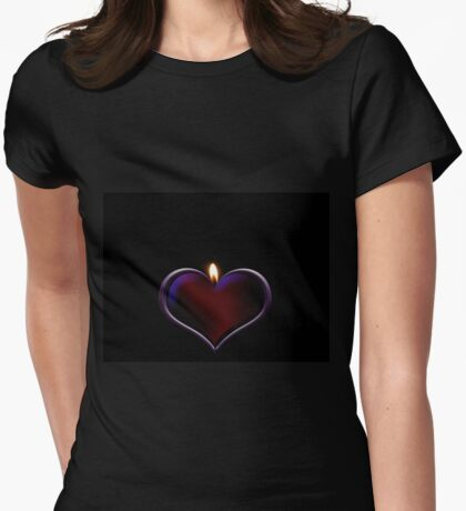 Candle heart Womens Fitted T-Shirt