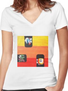 Dig Dug (Paint 'N' Beads) Women's Fitted V-Neck T-Shirt