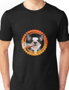 Cute dog head with a Cuban cigar Unisex T-Shirt