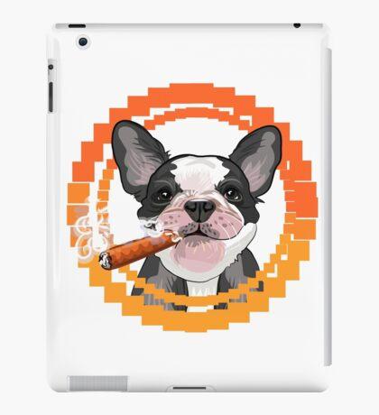 Cute dog head with a Cuban cigar iPad Case/Skin