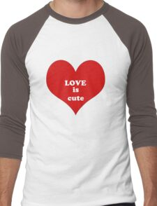 Red White Heart Shape Love Quote Abstract Pattern Men's Baseball ¾ T-Shirt