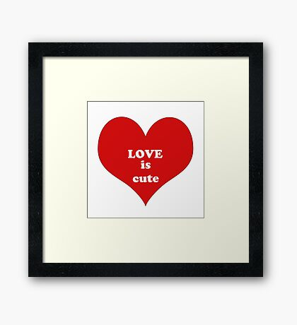 Red White Heart Shape Love Quote Abstract Pattern Framed Print