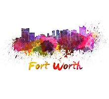 Fort Worth skyline in watercolor Photographic Print
