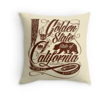 Golden State California - Typography Art Throw Pillow