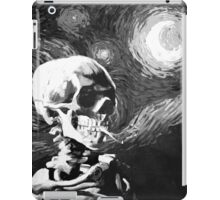 Skull with burning cigarette on a Starry Night BW iPad Case/Skin