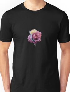 Flowers Pink Roses Shape Black Background Abstract Unisex T-Shirt
