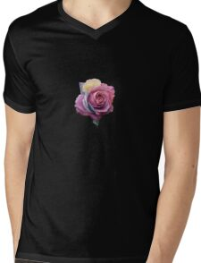 Flowers Pink Roses Shape Black Background Abstract Mens V-Neck T-Shirt