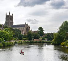Worchester cathedral on the river Severn by Arie Koene