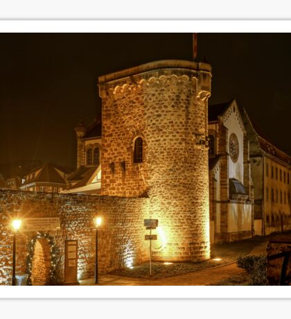 Old medieval fortress wall highlighted at night, Obernai, France Sticker