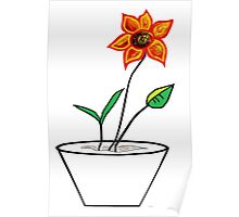 Minimalist Flower in a Pot Poster