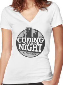 Coding At The Night Women's Fitted V-Neck T-Shirt