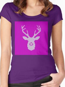 Deer Silhouette in Christmas Ugly Sweater Knitting Women's Fitted Scoop T-Shirt