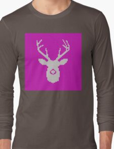 Deer Silhouette in Christmas Ugly Sweater Knitting Long Sleeve T-Shirt
