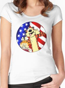 Calvin and hobbes america Women's Fitted Scoop T-Shirt