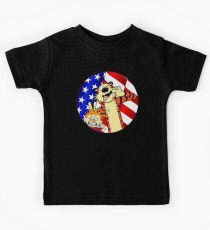 Calvin and hobbes america Kids Tee