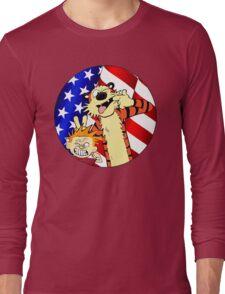 Calvin and hobbes america Long Sleeve T-Shirt