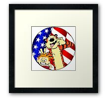 Calvin and hobbes america Framed Print