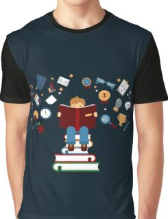 Concept of Education with Reading Books Graphic T-Shirt