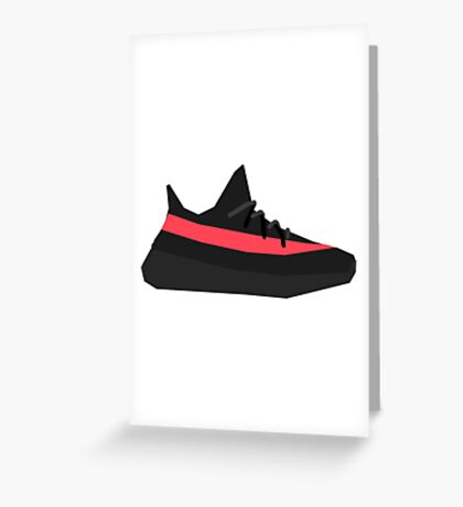 Geometric Yeezy 350 v2 Red Greeting Card