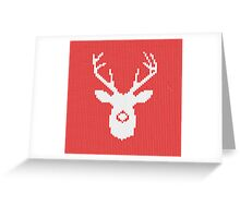 Deer Silhouette in Christmas Ugly Sweater Knitting Greeting Card