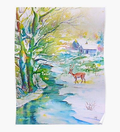 Watercolor Snow Scene Painting, snow, stream, cottage and deer Poster